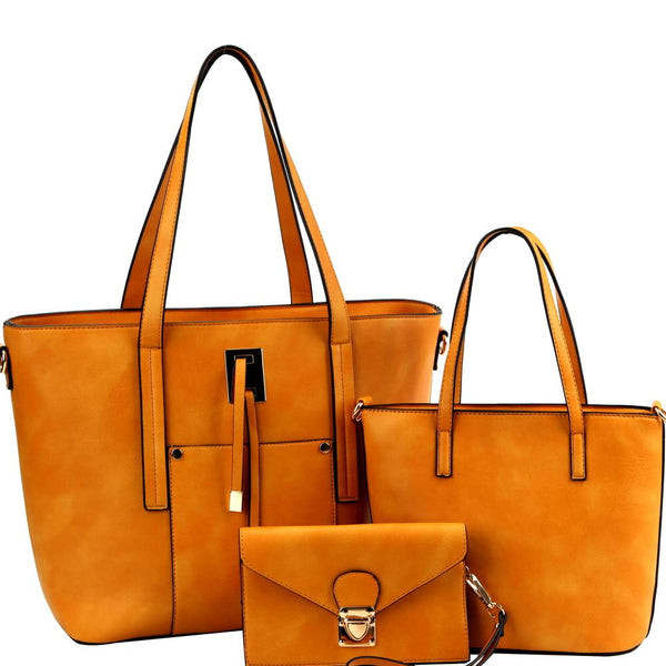 String Accent 3 in 1 PU Leather Classy Tote Bag with Satchel and Wristlet Value SET