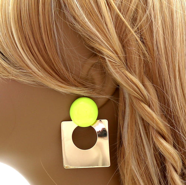 Neon Accent Open-cut Metal Square Earring