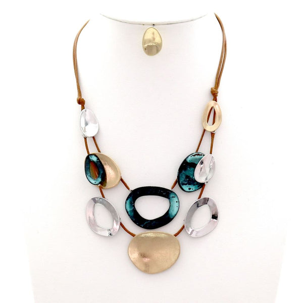 Multicolored Hammered Open-cut Round Metal Layered Necklace SET