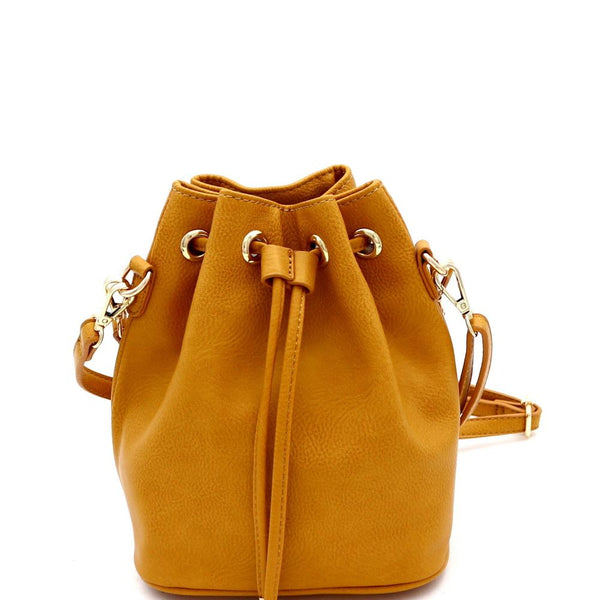 Drawstring Medium 2-Way Bucket Satchel Shoulder Bag
