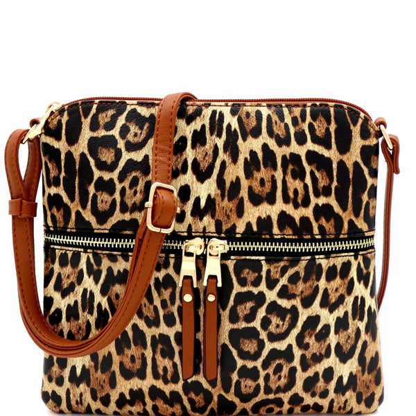Leopard Print Front Pocket Cross Body Messenger