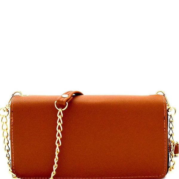 Saffiano PU Leather Double Zip-Around Zipper Wallet with Crossbody Shoulder Strap