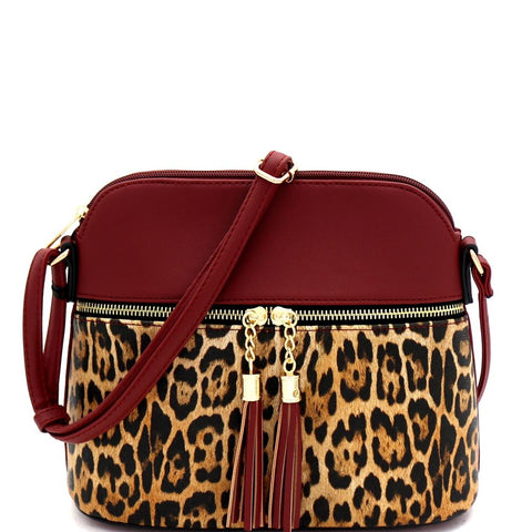 Leopard Print Tassel Accent Pocket Dome Cross Body Bag