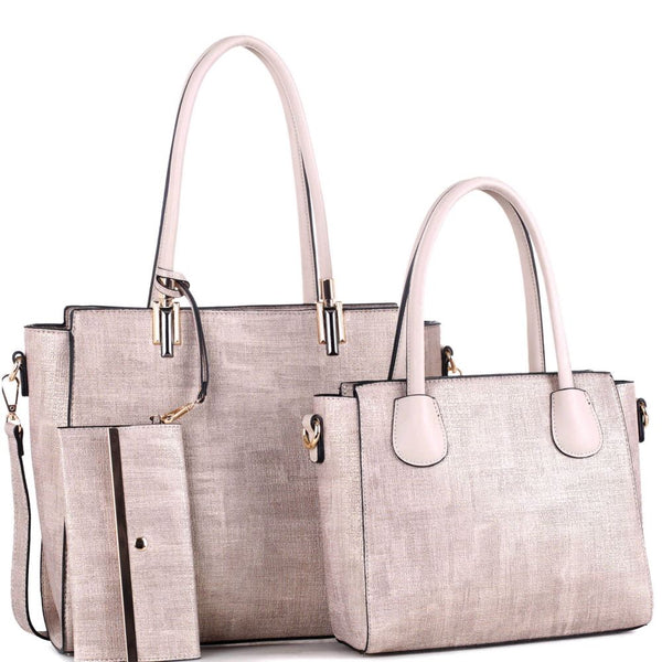 Hardware Accent Textured 3 in 1 Twin Tote and Wristlet Value SET