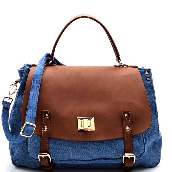 Turn-lock Faux-leather Flap Denim Satchel Purse