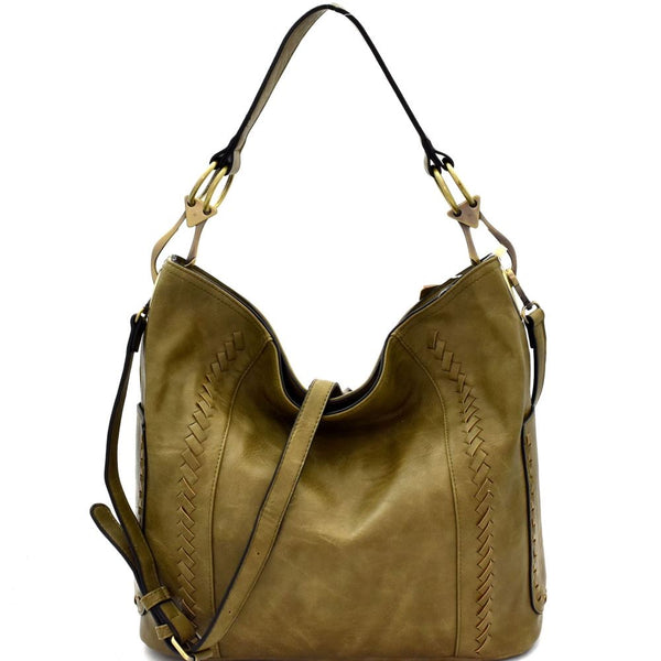 Whipstitch Accent Side Ring Large Hooked 2-Way PU Leather Hobo Bag