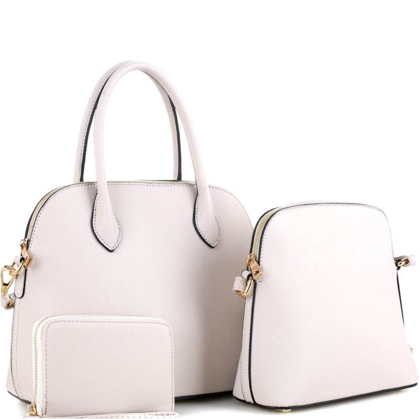 Classy 3 in 1 PU Leather Medium Dome Satchel Purse with Crossbody and Small Wallet Value SET