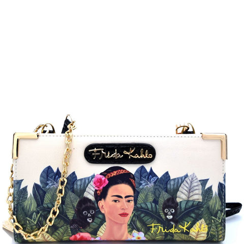 Authentic Frida Kahlo Jungle Series Zipper Wallet with Cross Body Strap