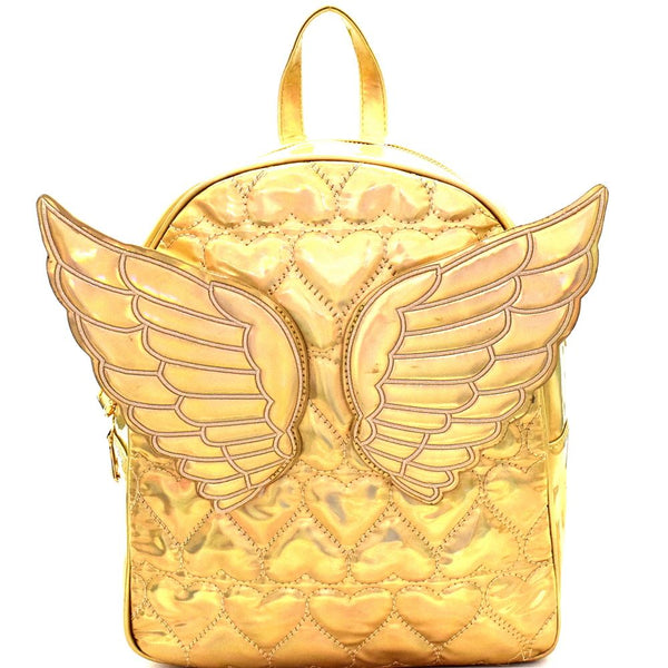 Iridescent Metallic Angel Wing Heart Pattern Novelty Backpack