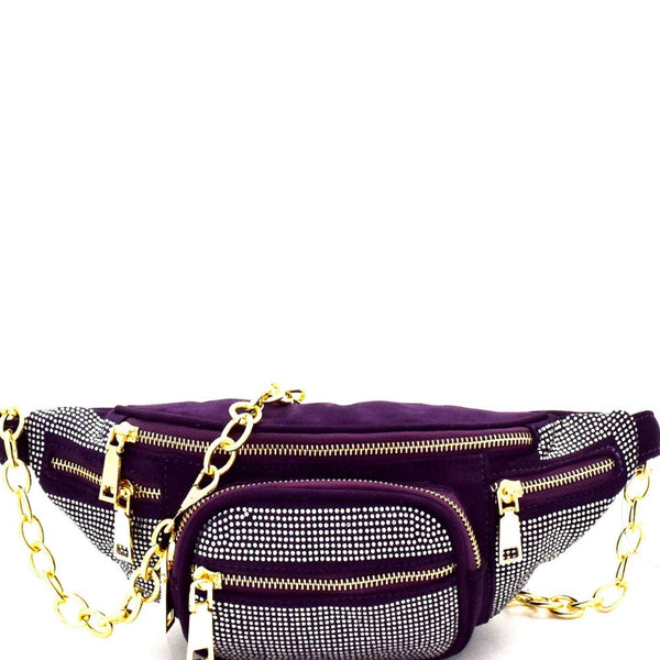 Rhinestone Accent Multi-Pocket Chain Fanny Pack