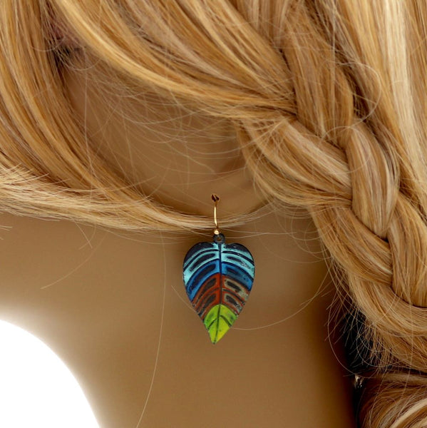 Multicolored Carved Metal Leaf Boho Dangle Earring