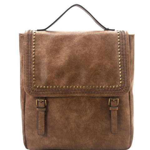 Brass-tone Studded Belted Flap Square Backpack