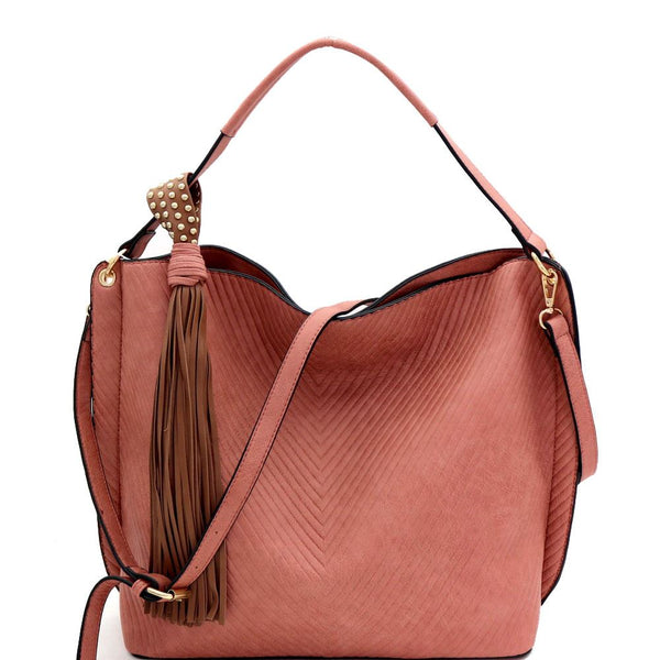 Tassel Accent PU Leather Chevron Patterned 2-Way Hobo Handbag