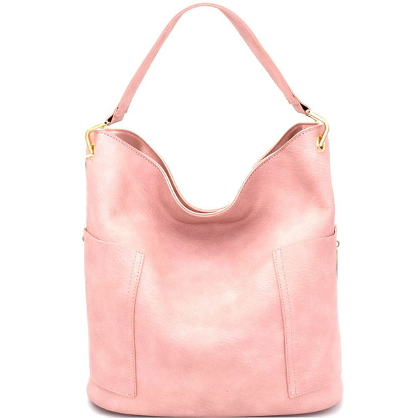 Side Pocket Tall Zipper Accent Strap Hobo Bag