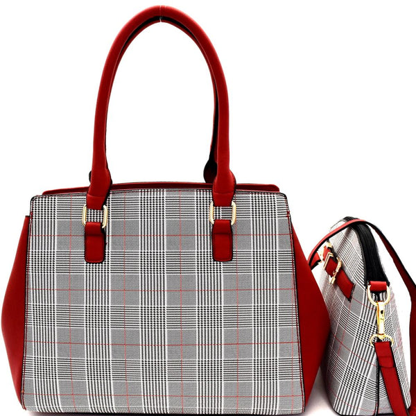Plaid Checker Print 2 in 1 Large Tote with Cross Body SET