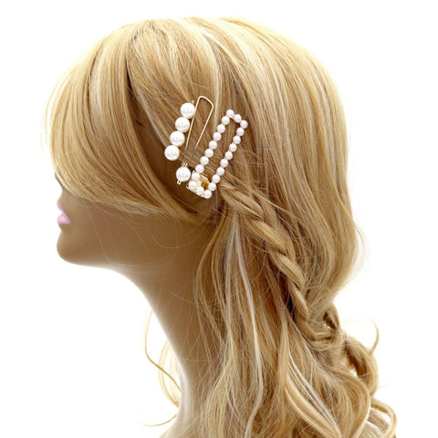 Plastic Pearl 3-Piece Hair Pin Set Gold
