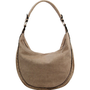 Braid Accent Perforated Single Strap Hobo Bag