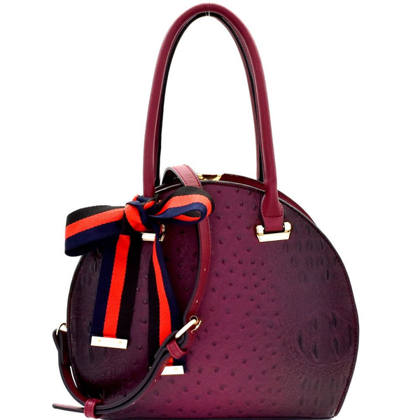 Ostrich Embossed Color Block Bow Jewel-Top Satchel Bag
