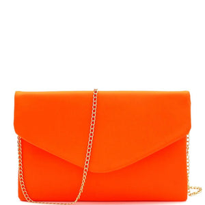 Neon Envelope Clutch with Chain Strap