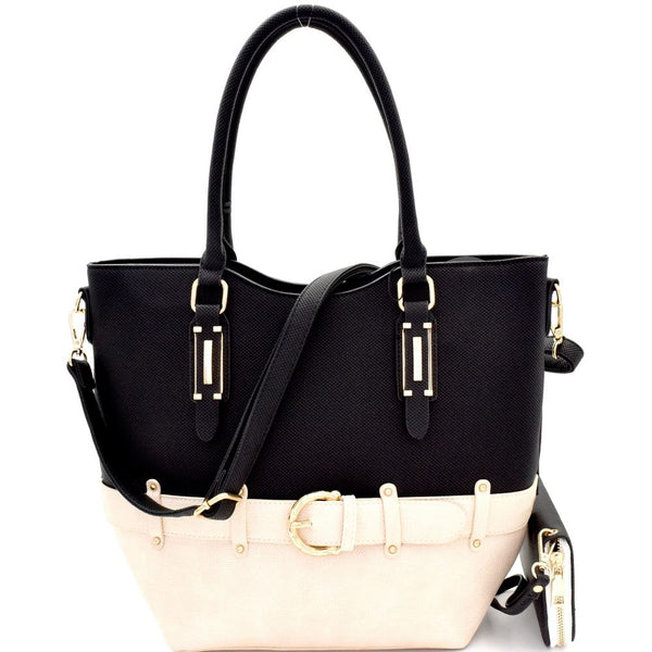 Buckle Accent Two-Tone Tall PU Leather Tote Bag and Wallet SET