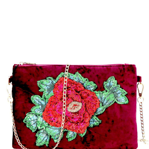 Sequin Embellished Flower Accent Faux-Velvet Clutch