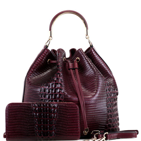 Crocodile Print 2-Way Drawstring Bucket Satchel Bag and Wallet SET