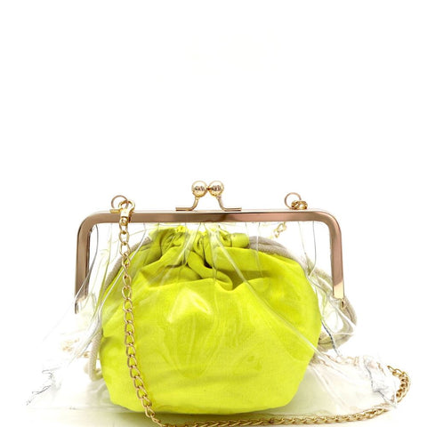 Neon Color Inner Bag 2 in 1 Kiss-lock Frame Clear Clutch Crossbody