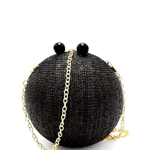 Wooden Knob Faux-Straw Crochet Ball-Shape Clutch