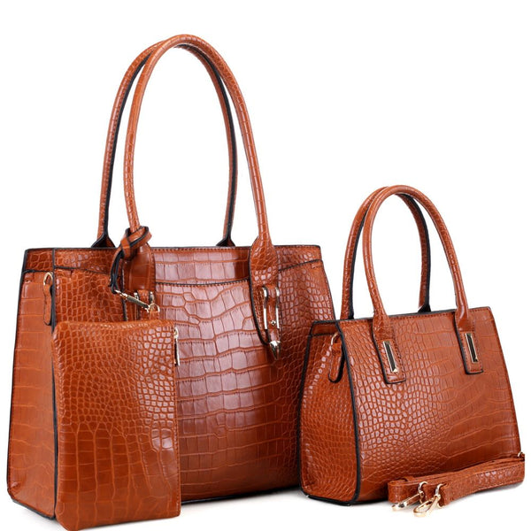 Crocodile Print 3 in 1 Structured Tote Bag and Wallet SET