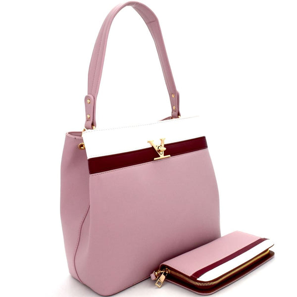 Color Block Single Strap Hobo Bag and Wallet SET