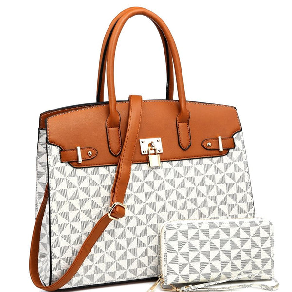 Padlock Accent Monogram 2-Way Structured Satchel Bag with Wallet SET
