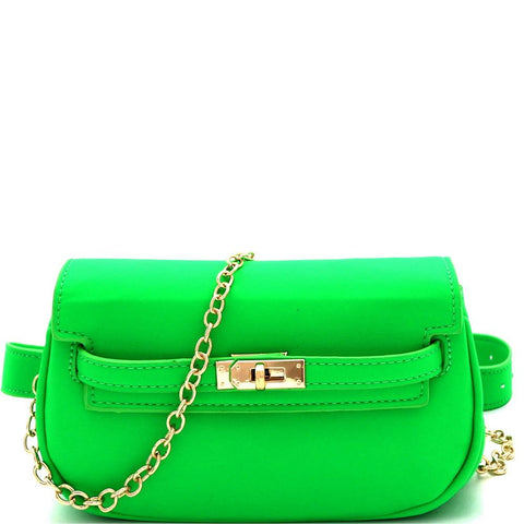Turn-Lock Accent 2-Way Neon Fanny Pack Cross Body Bag