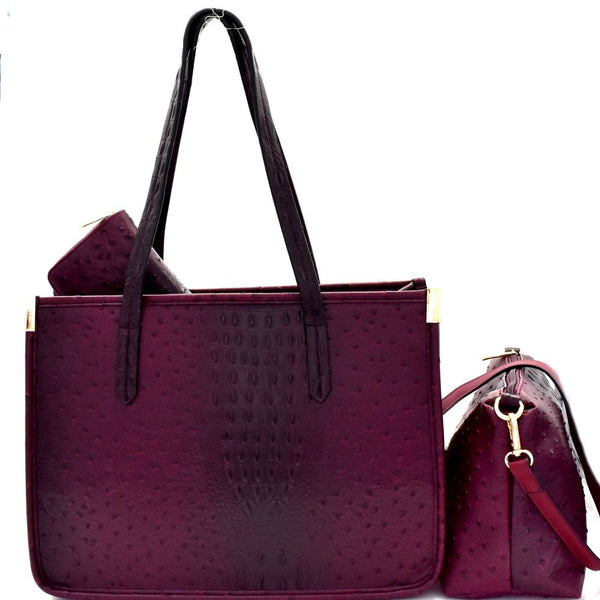 Ostrich Print Embossed 3 in 1 Tote Bag and Wallet SET