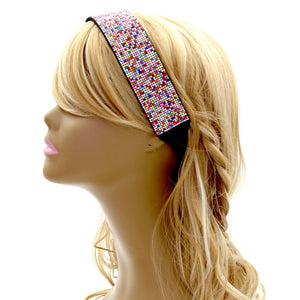 Rainbow Rhinestone Bling Elastic Retro Sporty Headband