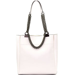 Pewter-Tone Hardware Chain Accent PU Leather Tote Purse