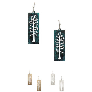 Tree of Life Cut-out Metal Rectangular Dangle Earring