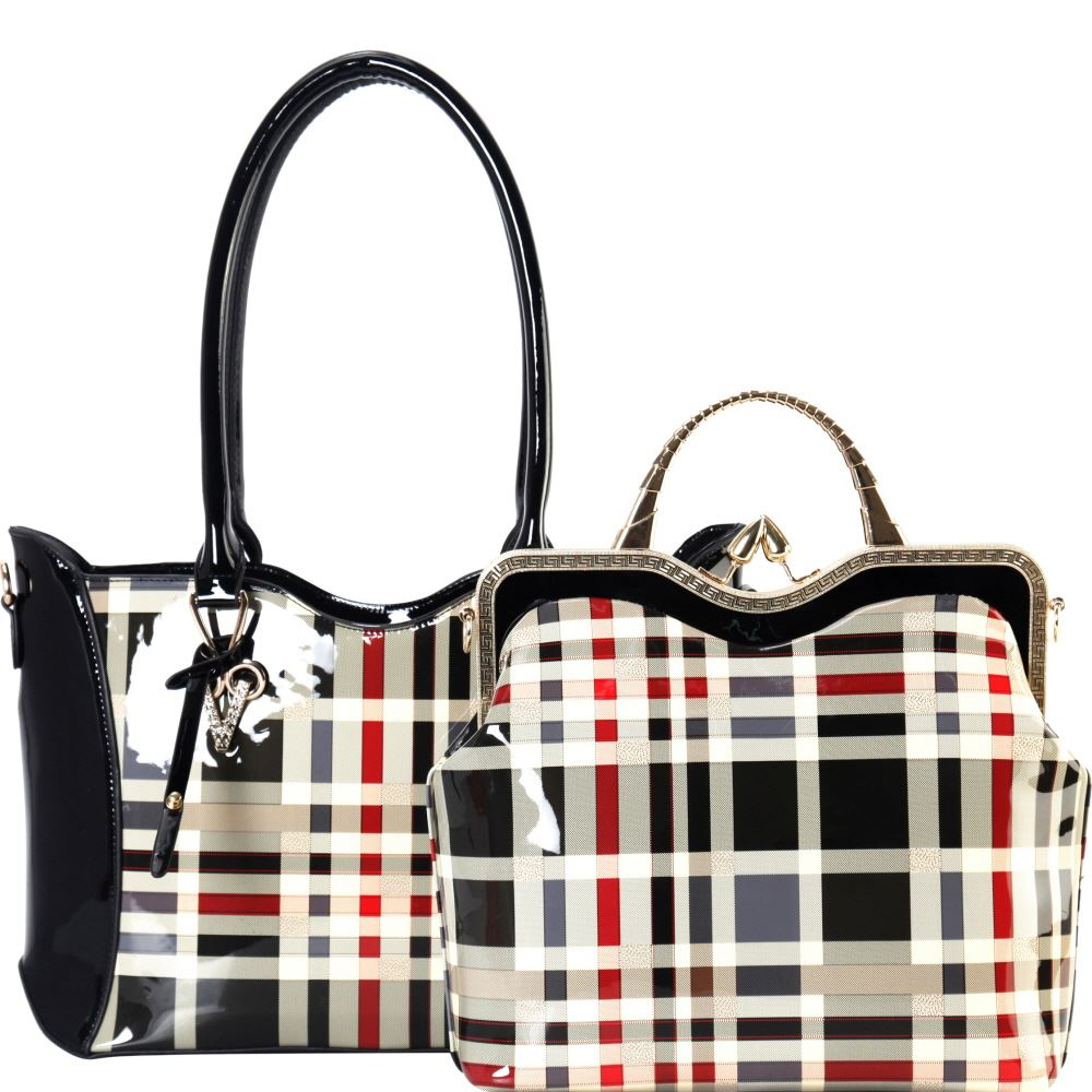 098867f638f6f Plaid Checker Print Patent 2 in 1 Metal Handle Satchel Bag and Tote Purse  SET