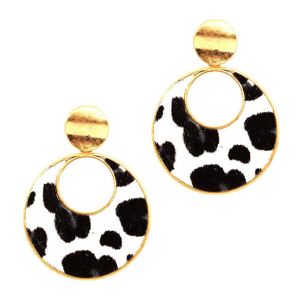 Leopard Print Leather Open-cut Round Post Earring
