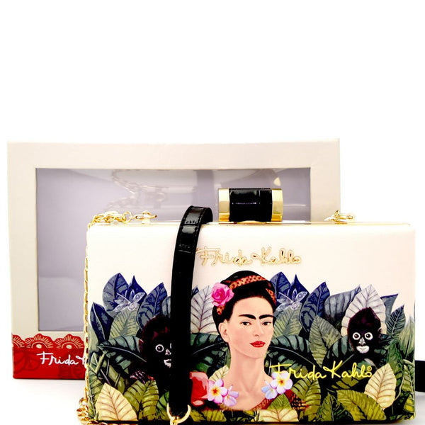 Authentic Frida Kahlo with Parrot in Flowers Frame Hard Clutch