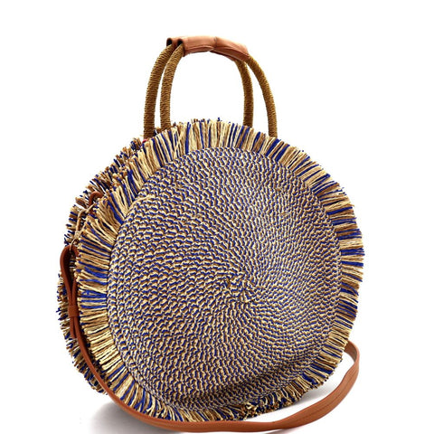 Frayed Straw Fringe Crochet Knit Round 2 Way Satchel Bag