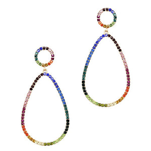 Multicolored Rhinestone Open-cut Teardrop Earring