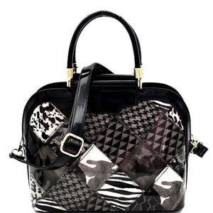 Multi-Compartment Animal Print Patchwork Patent Dome Satchel bag