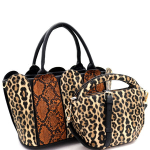 Leopard Snake Print Patchwork 2 in 1 Satchel Bag