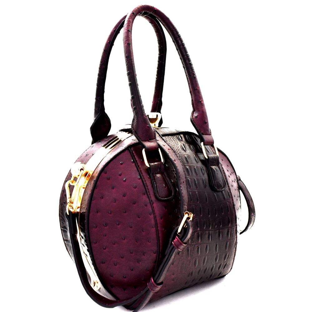 Ostrich Embossed PU Leather Jewel-Top Round Satchel Purse with Shoulder strap
