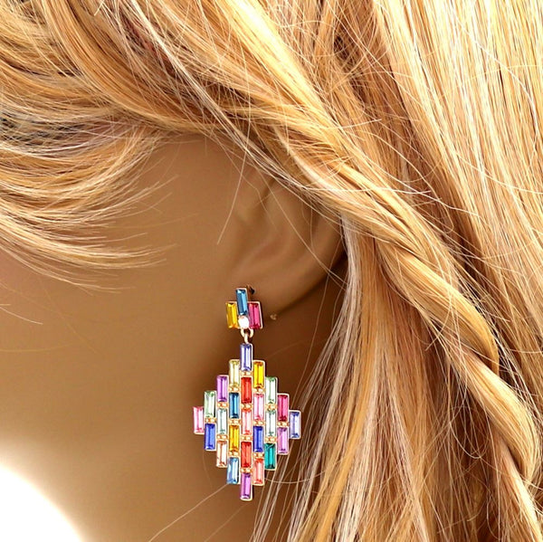 Multicolored Baguette Rhinestone Rhombus Dangle Earring