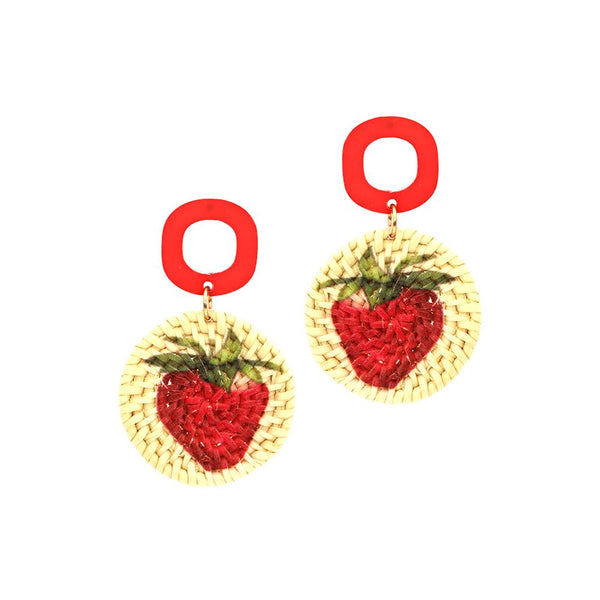 Strawberry Print Straw Acrylic Post Novelty Earring Red
