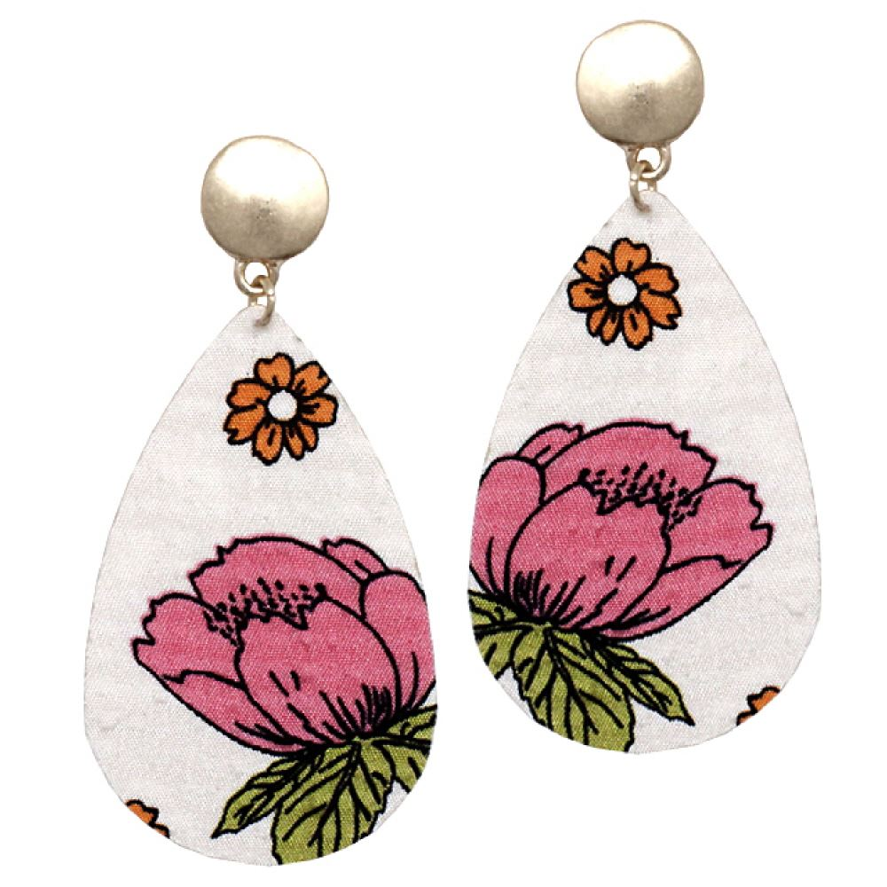 Flower Printed Fabric Metal Back Teardrop Earring