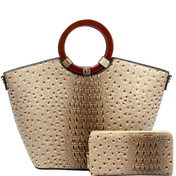 Wooden Handle Ostrich Print Satchel Purse and Wallet SET