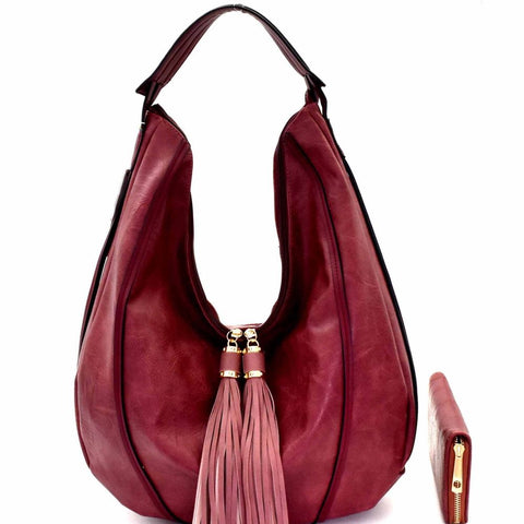 Tassel Accent Single Strap Hobo Bag and Wallet SET
