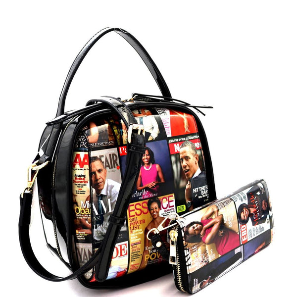 Michelle Obama Magazine Print 2-Way Boxy Shoulder Bag and Wallet SET